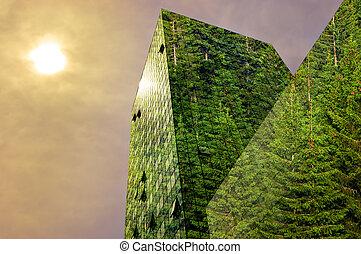 budova, pokrytý, moderní, les