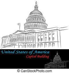 budova, postavení, sjednocený, hlavní, amerika
