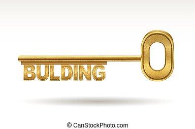 budova, zlatý, -, klapka