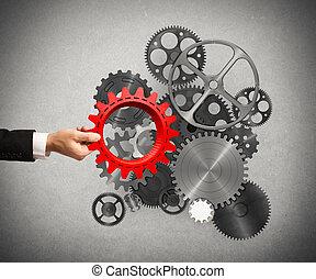 budować, handlowy, system