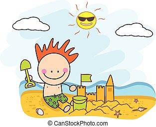 budować, piasek plaża, zamek, dzieci