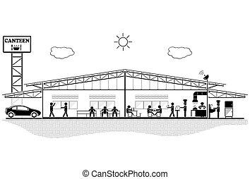 budowa, gmach, sekcja, kantyna, kantyna, ilustracja, wektor