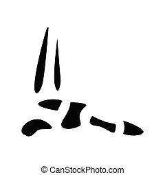 budowa, poznaczcie., stopa, czarnoskóry, płaski, ikona, ilustracja, kość, symbol, pojęcie, wektor, glyph