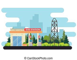 budowa, stacja, zapas, służba, stacja benzynowa