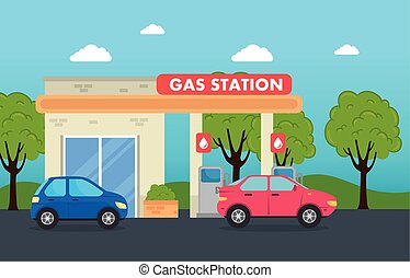 budowa, stacja, zapas, służba, wozy, stacja benzynowa