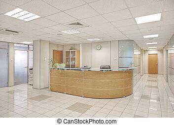 budowa wnętrze, wspólny, biuro
