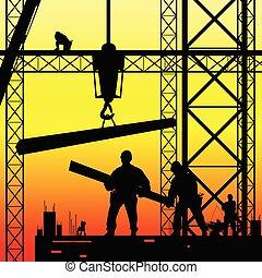 budowlaniec, na pracy, i, zmierzch, wektor, ilustracja