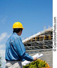 budowlaniec, na, umiejscawiać