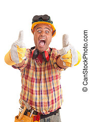 budowlaniec, szczęśliwy