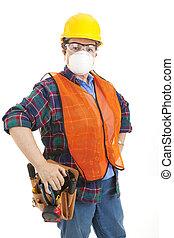 budowlaniec, w, bezpieczeństwo przybory
