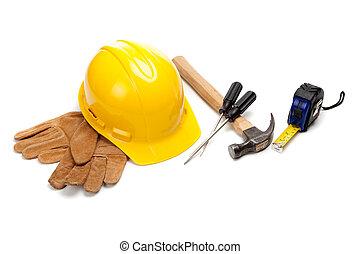 budowlaniec, zaopatruje, na białym