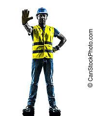 budowlaniec, zatrzymajcie gest, bezpieczeństwo, kamizelka, sylwetka