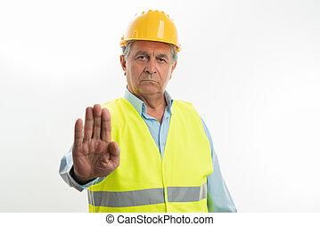 budowniczy, gest, zakazany, zrobienie