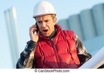 budowniczy, gniewny, telefon