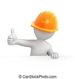 budowniczy, z, kciuk do góry