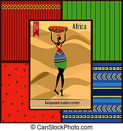 budowy, kobieta, komplet, seamless, afrykanin