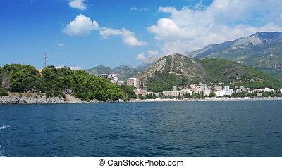 Budva Riviera - panorama of Budva Riviera from a boat