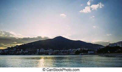 Budva Riviera in Montenegro at night. Sea coast and the...