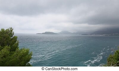 Budva Riviera in Montenegro. Sea coast mountains