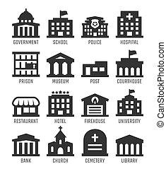 budynki rządowe, wektor, komplet, ikona