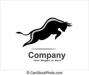 bue, semplicemente, logotipo, mucca, toro, alto, nero, salto, bufalo, ispirazione, disegno