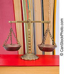 buecher, gerechtigkeit, gesetzlich, waage