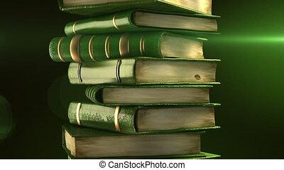 buecher, grün, stapel, diplom