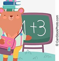 buecher, kopf, bär, reizend, zurück, bildung, schule