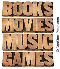 buecher, spiele, musik, filme