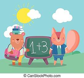 buecher, zurück, eichhörnchen, schule, tafel, bär, kopf, rucksack
