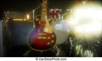 buehne, lighting., trommel, gitarre, satz, unterworfen