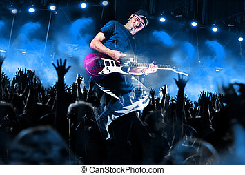 buehne, lights.abstract, musikalisches, background.playing, gitarre, und, concert, begriff