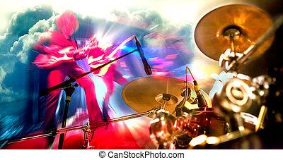 buehne, lights.double, aussetzung, abstrakt, musikalisches, background.playing, gitarre, und, concert, begriff