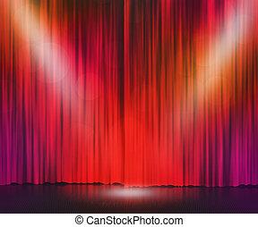 buehne, scheinwerfer, hintergrund, rotes