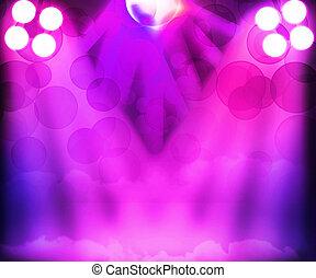 buehne, violett, scheinwerfer, hintergrund, disko