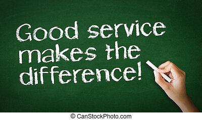 buen servicio, ilustración, tiza, diferencia, marcas