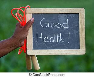 buena salud, con, saltar