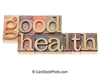 buena salud, en, madera, tipo
