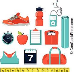 buena salud y gimnasio, línea, plano, iconos