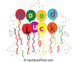 buena suerte, globos, flámulas, y, confeti, ilustración