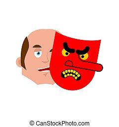 bueno, cara, y, mal, mask., vector, ilustración