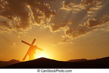 bueno, Cristo, viernes, cruz, Arriba, proceso de llevar,...
