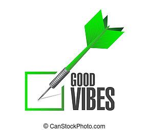 bueno, dardo, vibraciones, concepto, señal, cheque