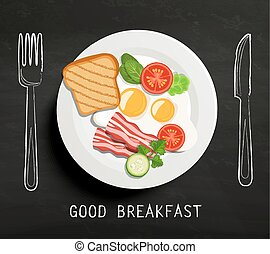 bueno, desayuno, lettering.