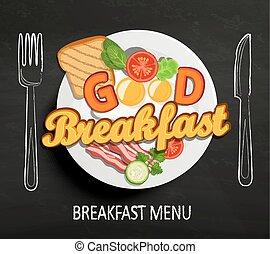 bueno, desayuno, vector.