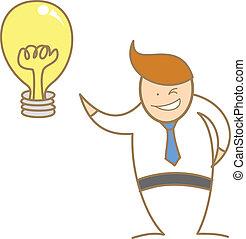 bueno, empresa / negocio, conseguir, carácter, idea, caricatura, hombre