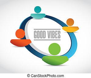 bueno, gente, comunidad, señal, vibraciones, concepto