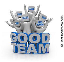 bueno, gente, -, trabajo en equipo, qualities, equipo