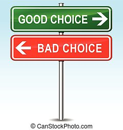 bueno, malo, concepto, opción, señal