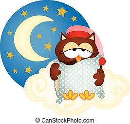 bueno, noche, búho